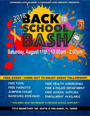 Changing Lives Academy - Back 2 School Bash! - Fun 4 Orlando Kids
